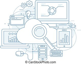 serviço, computando, projeto abstrato, internet, nuvem