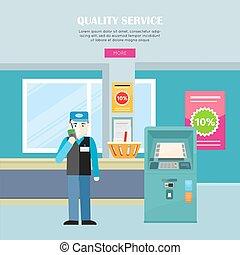 serviço correia fotorreceptora, banner., supermercado, vetorial, qualidade