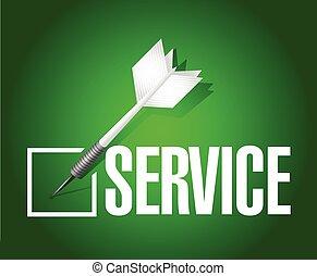 serviço, dardo, confira mark, ilustração