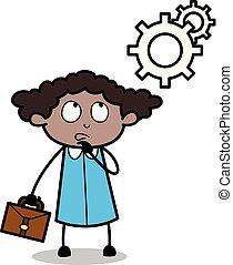 serviço, escritório, pensando, -, ilustração, vetorial, pretas, retro, menina, caricatura