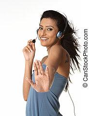 serviço freguês, agente, com, headset
