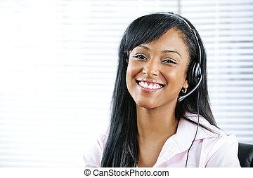 serviço freguês, e, apoio, representante, com, headset