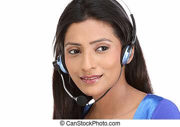 serviço freguês, menina, com, headset