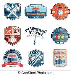 serviço, jogo, service., emergência, vindima, business., labels., aquecimento, tema, elementos, vetorial, retro, encanamento, logo., emblemas, illustration.