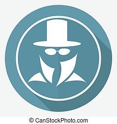 serviço, segredo, longo, suit., agente, sombra, homem, ícone