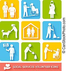 serviços, apartamento, jogo, social, ícones