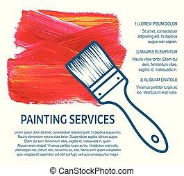 serviços, casa, conceito, quadro