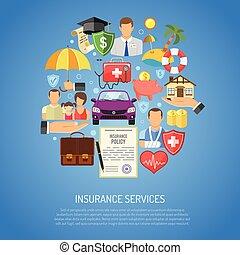 serviços, conceito, seguro