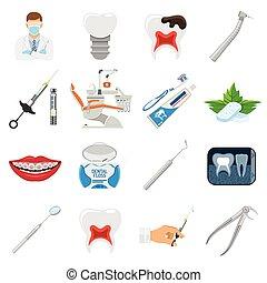 serviços, dental, jogo, ícones