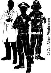 serviços emergência, equipe, silhuetas