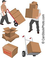 serviços entrega, illustrati, em movimento