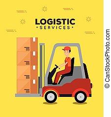 serviços, forklift, trabalhador, logistic