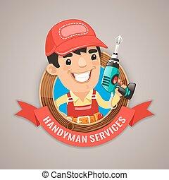 serviços, handyman, emblema