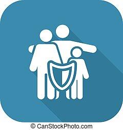 serviços, icon., soluções, família, seguro