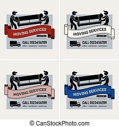 serviços, logotipo, companhia, em movimento, design.