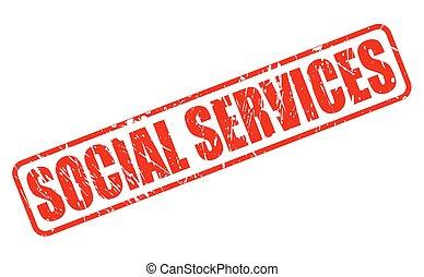serviços, selo, social, vermelho, texto