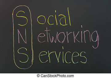 serviços, social, networking, título