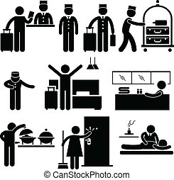 serviços, trabalhadores, hotel