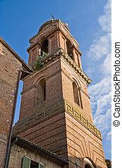 servi, citt?, maria, dei, s., umbria., belltower, church., ...