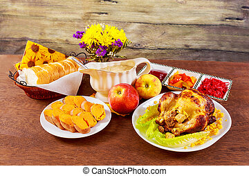 servi, feuilles, candles., thanksgiving, automne, chicken., clair, rôti, table, décoré