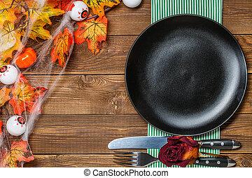 servi, halloween, table, fête