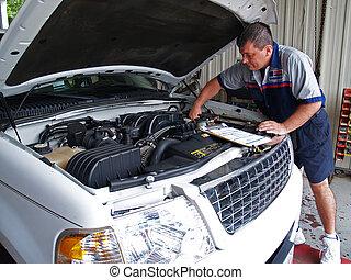 servi, spełnianie, mechanik, rutyna