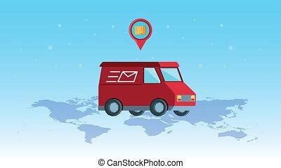 service, épingle, emplacement, planète, papier, carte, logistique