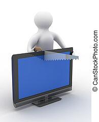 service., τηλεόραση , εικόνα , απομονωμένος , τεχνικός , repair., 3d