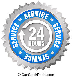 Service 24 hours token on white background