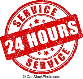 Service 24 hours vector stamp