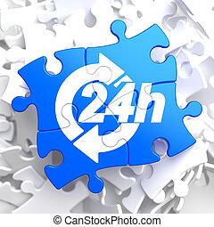 Service 24h Icon on Blue Puzzle.