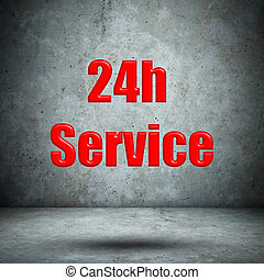 Service 24H Icon on concrete wall