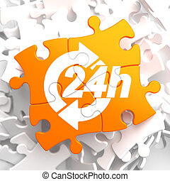 Service 24h Icon on Orange Puzzle.