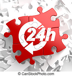 Service 24h Icon on Red Puzzle.