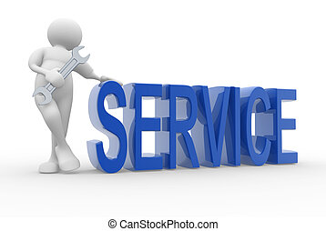 Service - 3d human character and service concept - 3d render...