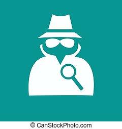 service, agent secret, suit., icône, homme