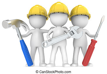 Service and repair. - 3D little human character The Builders...