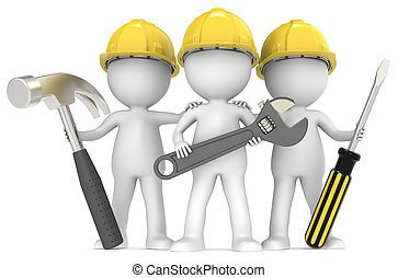 3D little human character The Builders X3 with Tools. People series.