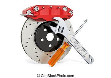 Service and repair of car disc brake with caliper, 3D rendering