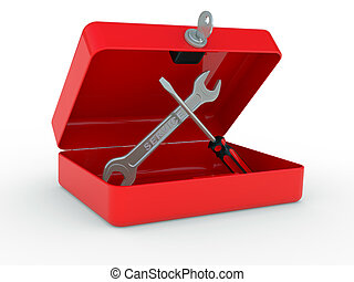Service and repair tools - Red box with service tools on a...