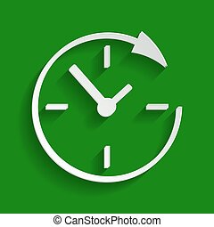 Service and support for customers around the clock and 24 hours. Vector. Paper whitish icon with soft shadow on green background.
