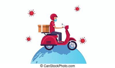 service, animation, motocyclette, livraison