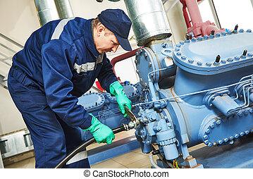 service, arbetare, hos, industriell, kompressor, station