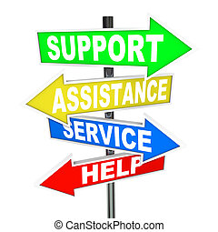 Many colorful arrow signs point to a solution to your problem, offering support, assistance, service and help to give advice in finding an answer to your trouble