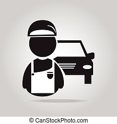service, auto, abbildung, mechaniker, mann, ikone