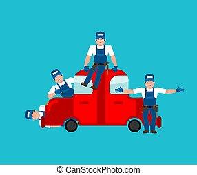 service., auto, abbildung, vektor, auto, mechanic.