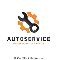 Service auto repair, wrench, logo sign flat.