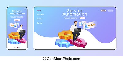 Service automation adaptive landing page flat color vector template. Male sitting on cogwheels mobile and PC homepage layout. Process improving one page website UI. CRM webpage cross platform design