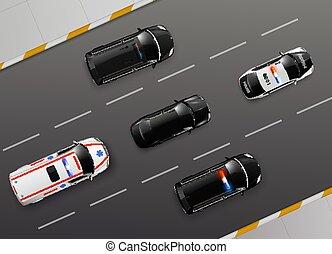 service, autoroute, composition, voitures