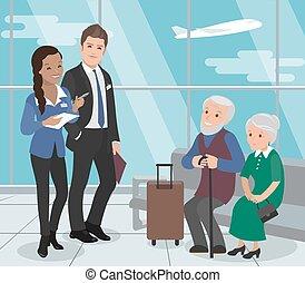 service., bejaarden, flight., portie, luchthaven, vector,...